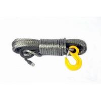 Синтетический трос POWERLINE 10 мм х 28 м, серый с коушом и крюко 10.4т (PLN10X28KH-G)