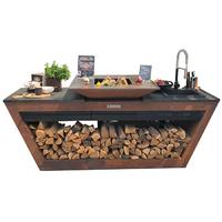 Кухня с колёсиками Quan Quadro Premium, коричневая (с системой водоснабжения) (QN29151)