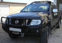 Передний бампер для Nissan Navara D40 с монтажной плитой под лебедку и кенгурятником (2005-2010) (9671)