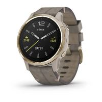 Часы для мультиспорта Garmin Fenix 6S Sapphire Light Gold-tone with Shale Gray Leather Band (010-02159-40)