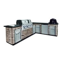 Угловая кухня BROIL KING с угольным грилем IMPERIAL XLS и угольным грилем KEG (без отделки и столешницы) (MOD6)