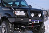 Передний силовой бампер РИФ УАЗ Патриот с защитной дугой и фонарями