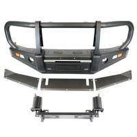 Передний бампер S1 OFD для Suzuki Jimny (с 2019) с монтажной плитой под лебедку и кенгурятником (OFDPW034045)